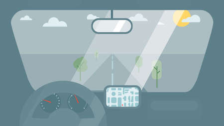 Inside car interior with wheel, speedometer, gps navigator. Vehicle background with view of road in window. Vector Иллюстрация
