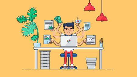 administrador de empresas: Espacio de trabajo de desarrollador de trabajo profesional, programador, administrador del sistema o del diseñador con escritorio, una silla, un proyecto de negocios notebook o el concepto de puesta en marcha. De trabajo empleado de oficina. Vector