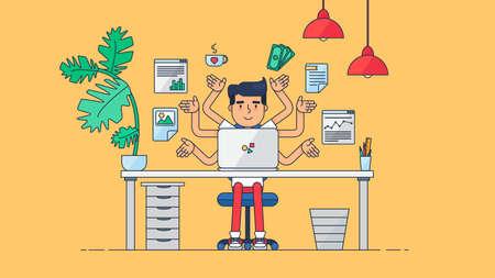 Espacio de trabajo de desarrollador de trabajo profesional, programador, administrador del sistema o del diseñador con escritorio, una silla, un proyecto de negocios notebook o el concepto de puesta en marcha. De trabajo empleado de oficina. Vector