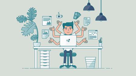 business administrator: Espacio de trabajo de desarrollador de trabajo profesional, programador, administrador del sistema o del dise�ador con escritorio, una silla, un proyecto de negocios notebook o el concepto de puesta en marcha. De trabajo empleado de oficina. Vector