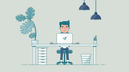 administrator: Workspace of Professional Working Developer, Programmer, System Administrator or Designer with desk, chair, notebook Business project or startup concept. Employee office workplace. Vector
