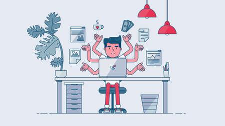 administrador de empresas: Espacio de trabajo de desarrollador de trabajo profesional, programador, administrador del sistema o del dise�ador con escritorio, una silla, un proyecto de negocios notebook o el concepto de puesta en marcha. De trabajo empleado de oficina. Vector
