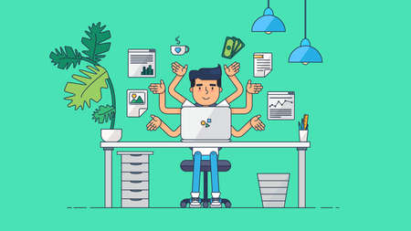 business administrator: Workspace of Professional Working Developer, Programmer, System Administrator or Designer with desk, chair, notebook Business project or startup concept. Employee office workplace. Vector