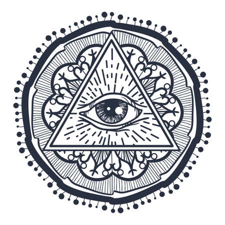 eye of providence: Vintage All Seeing Eye in Triangle and Mandala. Providence magic symbol for print, tattoo, coloring book,fabric, t-shirt, cloth in boho style. Astrology, occult, tribal, esoteric, alchemy sign. Vector