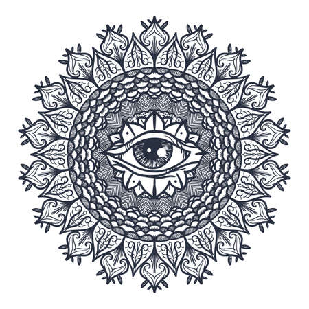 Vintage All Seeing Eye in Mandala. Providence magic symbol for print, tattoo, coloring book,fabric, t-shirt, cloth in boho style. Astrology, occult and tribal, esoteric and alchemy sign. Vector Vettoriali
