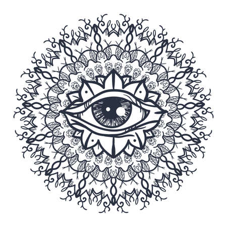 eye of providence: Vintage All Seeing Eye in Mandala. Providence magic symbol for print, tattoo, coloring book,fabric, t-shirt, cloth in boho style. Astrology, occult and tribal, esoteric and alchemy sign. Vector Illustration