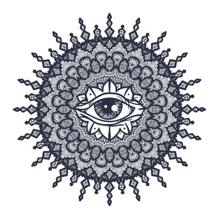 Vintage All Seeing Eye in Mandala. Providence magic symbol for print, tattoo, coloring book,fabric, t-shirt, cloth in boho style. Astrology, occult and tribal, esoteric and alchemy sign. Vector 向量圖像