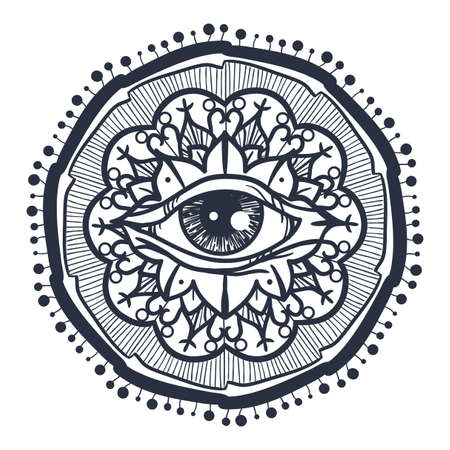 all in: Vintage All Seeing Eye in Mandala. Providence magic symbol for print, tattoo, coloring book,fabric, t-shirt, cloth in boho style. Astrology, occult and tribal, esoteric and alchemy sign. Vector Illustration