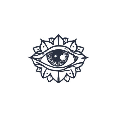 mysterious: Vintage All Seeing Eye in Mandala. Providence magic symbol for print, tattoo, coloring book,fabric, t-shirt, cloth in boho style. Astrology, occult and tribal, esoteric and alchemy sign. Vector Illustration