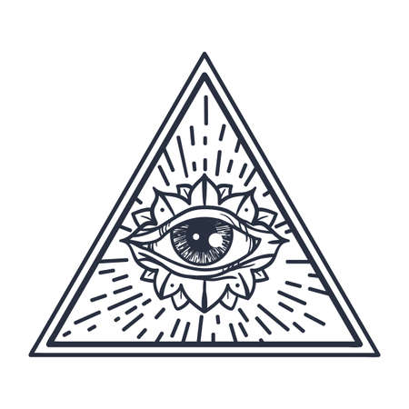 Vintage All Seeing Eye in Triangle. Providence magic symbol for print, tattoo, coloring book,fabric, t-shirt, cloth in boho style. Astrology, occult and tribal, esoteric and alchemy sign. Vector