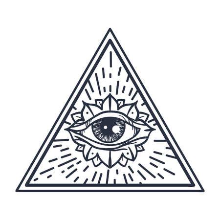 Vintage All Seeing Eye En Triángulo. Providencia Símbolo Mágico Para ...