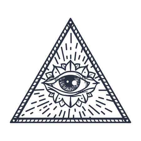 eye of providence: Vintage All Seeing Eye in Triangle. Providence magic symbol for print, tattoo, coloring book,fabric, t-shirt, cloth in boho style. Astrology, occult and tribal, esoteric and alchemy sign. Vector