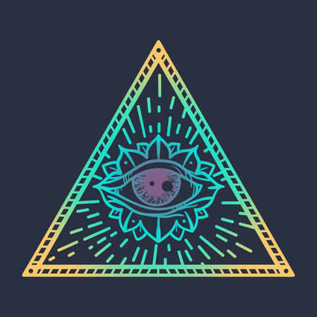 providence: Vintage All Seeing Eye in Triangle. Providence magic symbol for print, tattoo, coloring book,fabric, t-shirt, cloth in boho style. Astrology, occult and tribal, esoteric and alchemy sign. Vector