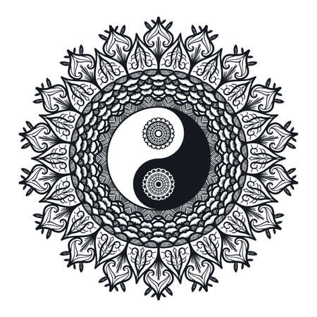 tao: Vintage Yin and Yang in Mandala. Tao symbol for print, tattoo, coloring book,fabric, t-shirt, yoga, henna, cloth in boho style. Mehndi, occult and tribal, esoteric and alchemy sign. Vector