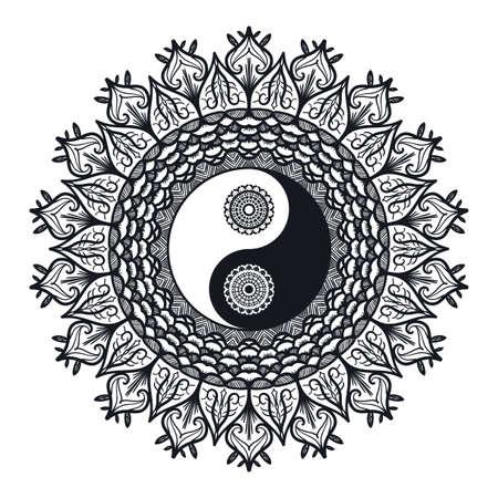 Weinlese Yin und Yang in Mandala. Tao Symbol für den Druck, Tätowierung, Malbuch, Stoff, T-Shirt, Yoga, Henna, Tuch in Boho-Stil. Mehndi, okkulten und Stammes, esoterischen und Alchemie Zeichen. Vektor