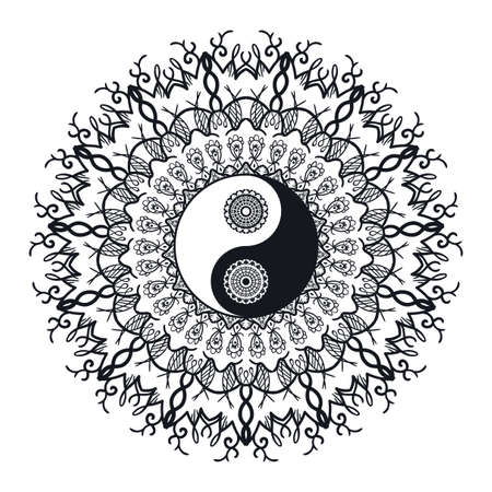Vintage Yin and Yang in Mandala. Tao symbol for print, tattoo, coloring book,fabric, t-shirt, yoga, henna, cloth in boho style. Mehndi, occult and tribal, esoteric and alchemy sign. Vector