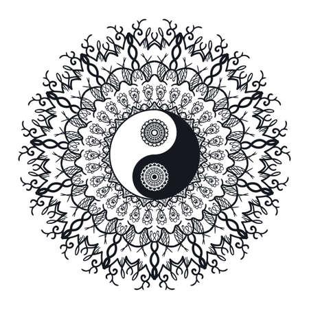 Yin et Yang Vintage dans Mandala. symbole Tao pour l'impression, tatouage, livre de coloriage, tissu, t-shirt, le yoga, le henné, le tissu dans un style boho. Mehndi, occulte et tribal, ésotérique et signe l'alchimie. Vecteur Vecteurs