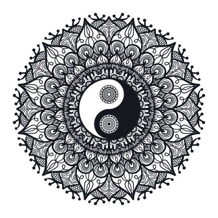 Vintage Yin and Yang in Mandala. Tao symbol for print, tattoo, coloring book,fabric, t-shirt, yoga, henna, cloth in boho style. Mehndi, occult and tribal, esoteric and alchemy sign. Vector Zdjęcie Seryjne - 60070665