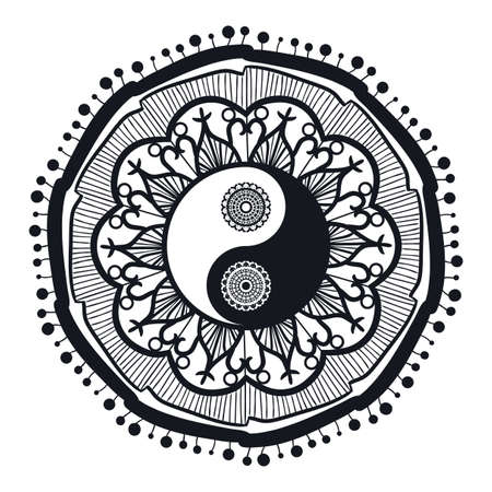 yin y yan: Yin y Yang de la vendimia en Mandala. Tao símbolo para la impresión, tatuaje, libro de colorear, tela, camiseta, yoga, alheña, tela de estilo boho. Mehndi, oculto y tribales, esotérico y el signo de la alquimia. Vector Vectores