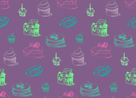wrap: Tasty Cakes Seamless Pattern. Cream Food Background. Bakery sticker and wrap, print and fabric. Candy, sweet wallpaper. Vector Illustration