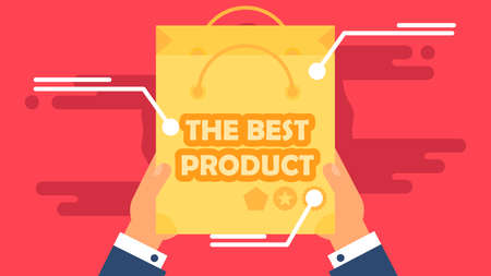best product: The Best Product in Shop Concept from Shopping Bag. Sale Banner. Shelves store with offer for print, flyer, sticker, poster. Vector