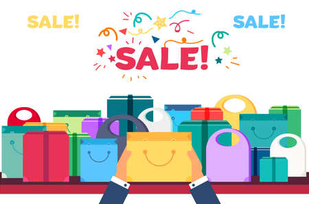 grocery shelves: Shop Concept from Shopping Bags, Boxes and Packages with products. Sale Banner. Shelves store with offer for print, flyer, sticker, poster. Vector
