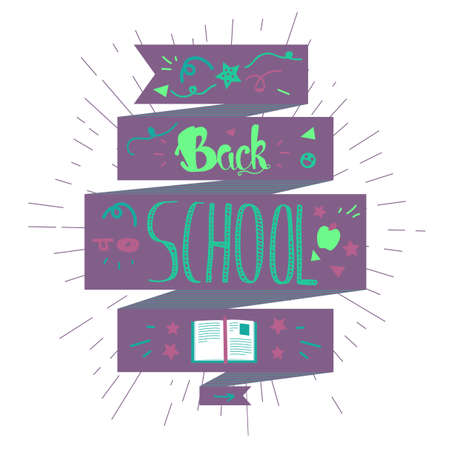 back cloth: Vintage Back To School Lettering Banner. Knowledge day greeting card with book and pencil for print, t-shirt, badge, cloth, poster. Vector