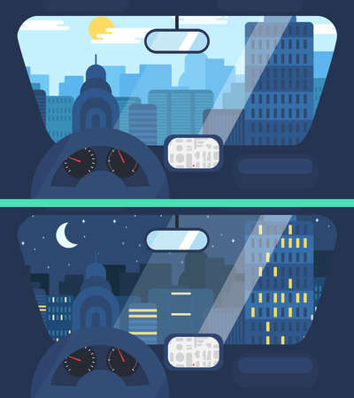 country road: Night and Day City Life Concept. Town street from inside car interior with wheel, speedometer, gps navigator. Urban Landscape Banner with buildings, trees, shop, stores, sky and sun. Vector