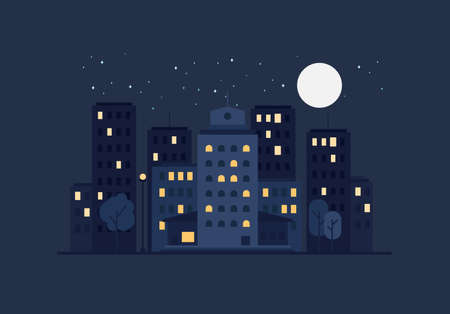 nightly: Night City Life Concept. Town street. Urban Landscape Banner with buildings, trees, shop, stores, sky and sun. Vector