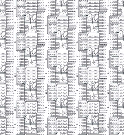 Day City Life Concept Seamless Pattern. Town street. Urban Landscape Banner with buildings, trees, shop, stores, sky and sun. Vector