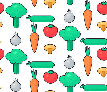 Fresh Vegetable Salad from tomato, cucumber and cabbage, carrot, mushroom and garlic. Tasty food seamless pattern for print, tablecloth and wrap, fabric, spread, card, banner. Vegan background. Vector