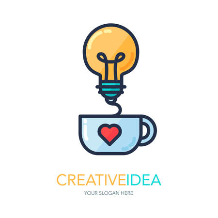 Simple Creative Success Idea Logo. Innovation symbol. Light bulb and cup. Design element for business startup, technology, science. Icon concept of invention, study, imagination and creativity. Vector Illustration