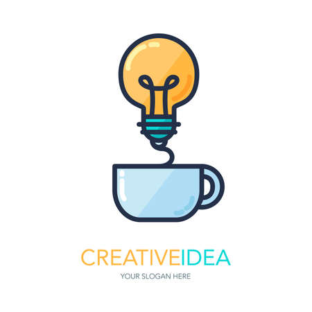 creativity and innovation: Simple Creative Success Idea Logo. Innovation symbol. Light bulb and cup. Design element for business startup, technology, science. Icon concept of invention, study, imagination and creativity. Vector Illustration