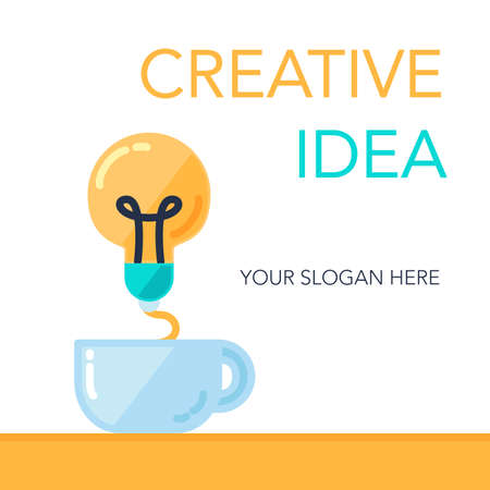 Simple Creative Success Idea Banner. Innovation symbol. Light bulb and cup. Design element for business startup, technology, science. Concept of invention, study, imagination and creativity. Vector