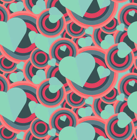Vintage Seamless Romantic Pattern for Wrap, Print, Fabric, Textile, Greeting Card. Ornament with pink or red heart, circle for cloth, wallpaper, mosaic. Wedding, valentine retro background. Vector