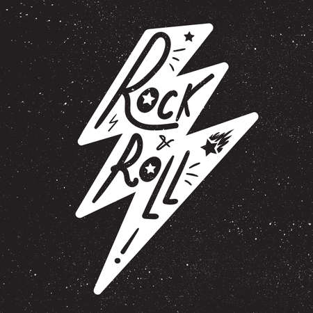 hardcore: Rock and Roll Lettering for t-shirt, sticker, print, fabric, cloth. Vintage hand drawn monochrome music badge. Retro hipster sound emblem for card, concert flyer, fest, postcard, label, poster. Vector Illustration