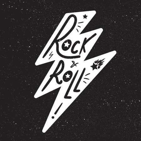 sound card: Rock and Roll Lettering for t-shirt, sticker, print, fabric, cloth. Vintage hand drawn monochrome music badge. Retro hipster sound emblem for card, concert flyer, fest, postcard, label, poster. Vector Illustration