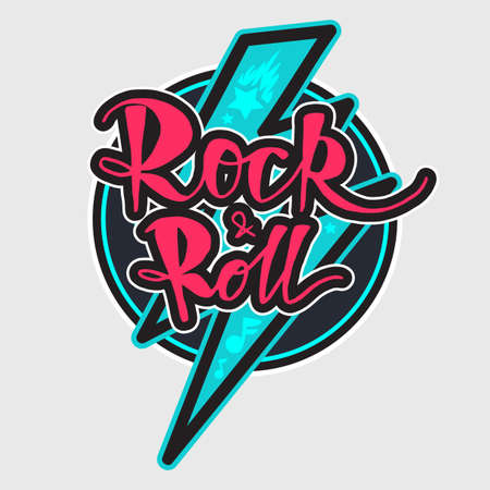 Rock and Roll Lettering for t-shirt, sticker, print, fabric, cloth. Vintage hand drawn music badge. Retro hipster musical sound emblem for card, concert flyer, fest, postcard, label, poster. Vector 일러스트