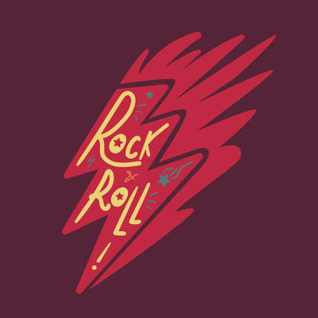 hardcore: Rock and Roll Lettering for t-shirt, sticker, print, fabric, cloth. Vintage hand drawn music badge. Retro hipster musical sound emblem for card, concert flyer, fest, postcard, label, poster. Vector Illustration