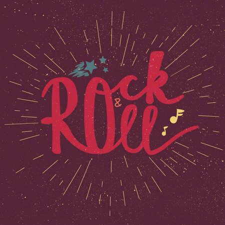 sound card: Rock and Roll Lettering for t-shirt, sticker, print, fabric, cloth. Vintage hand drawn music badge. Retro hipster musical sound emblem for card, concert flyer, fest, postcard, label, poster. Vector Illustration
