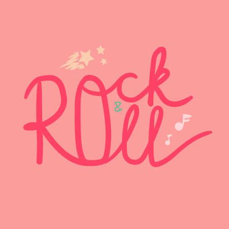 Rock and Roll Lettering for t-shirt, sticker, print, fabric, cloth. Vintage hand drawn music badge. Retro hipster musical sound emblem for card, concert flyer, fest, postcard, label, poster. Vector Illustration