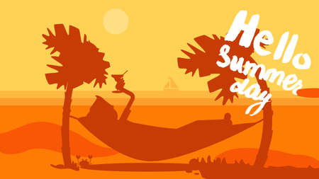 sunset beach: Hello Summer Concept with tourist drinking cocktail in hammock on palm beach. Vacation and travel tropical poster with sun and exotic island. Sunset. Vector