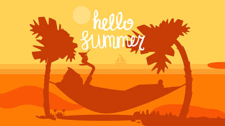 Hello Summer Concept with tourist drinking cocktail in hammock on palm beach. Vacation and travel tropical poster with sun and exotic island. Sunset. Vector