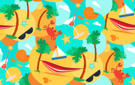 beach wrap: Hello Summer Seamless Pattern with hammock, crab, stars and cocktail on palm beach. Vacation and travel exotic tropical ornament for print, clothes, t-shirt, fabric, wrap, wallpaper. Vector
