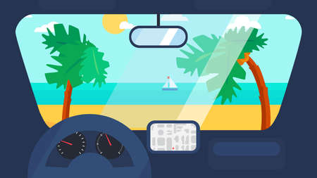 coastal: Hello Summer Concept on palm beach from inside car interior with wheel, speedometer, gps navigator. Vacation travel tropical poster with sun exotic island. Vector