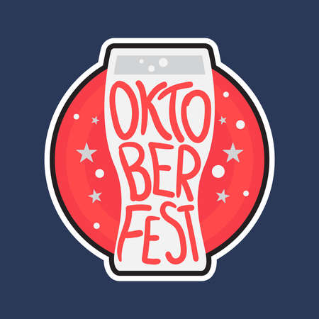 Oktoberfest Lettering. Beer festival handmade design element for badge, sticker, poster and print, t-shirt, apparel. Vector