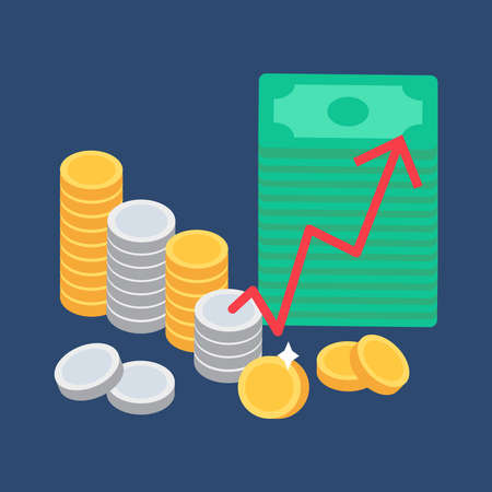 bourse: Money and coins. Commerce concept and store symbol. Vector
