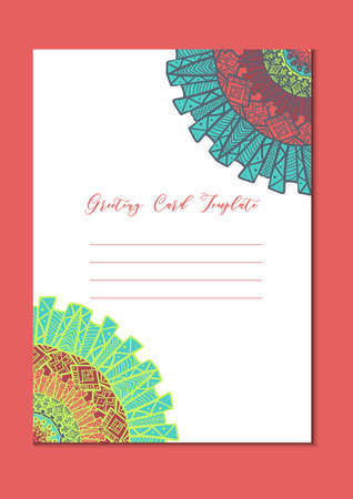 east indian: Business mandala card template. Oriental ethnic pattern. Mehndi ornament page for brochure, flyer, greeting, invitation cover. Design layout in boho and islam, arabic and east, indian style. Vector