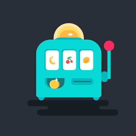 bandit: Casino design items. Gambling machine with money. One armed bandit. Variations of hands. Vector Illustration