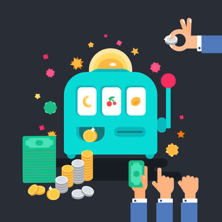 excitement: Casino design items. Gambling machine with money. One armed bandit. Variations of hands. Vector Illustration